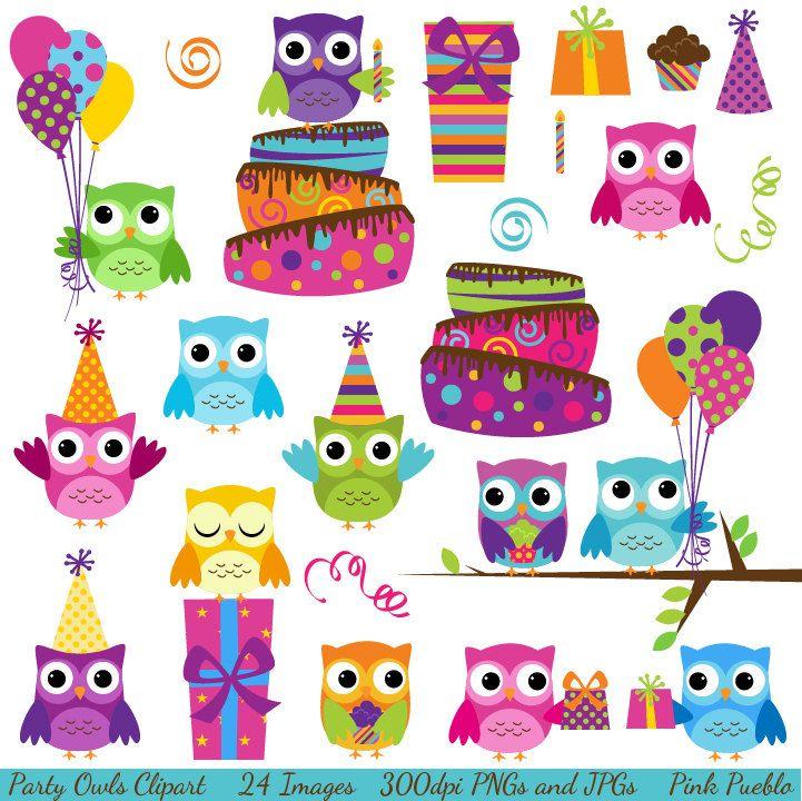 Party owls clipart clip art birthday owls clipart clip art