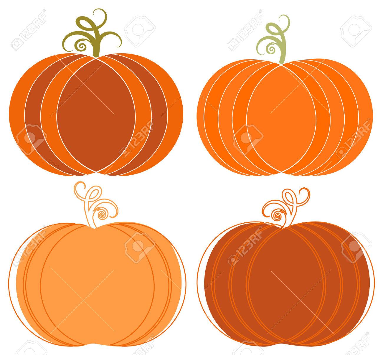 Halloween Pumpkin Images Clip Art.Whimsical Halloween Pumpkins Clip Art Set Royalty Free