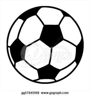 Clip art vector outlined soccer ball stock gg