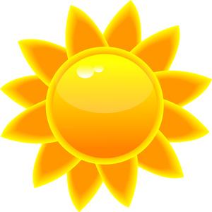 Sun clipart image clip art illustration of a bright yellow sun