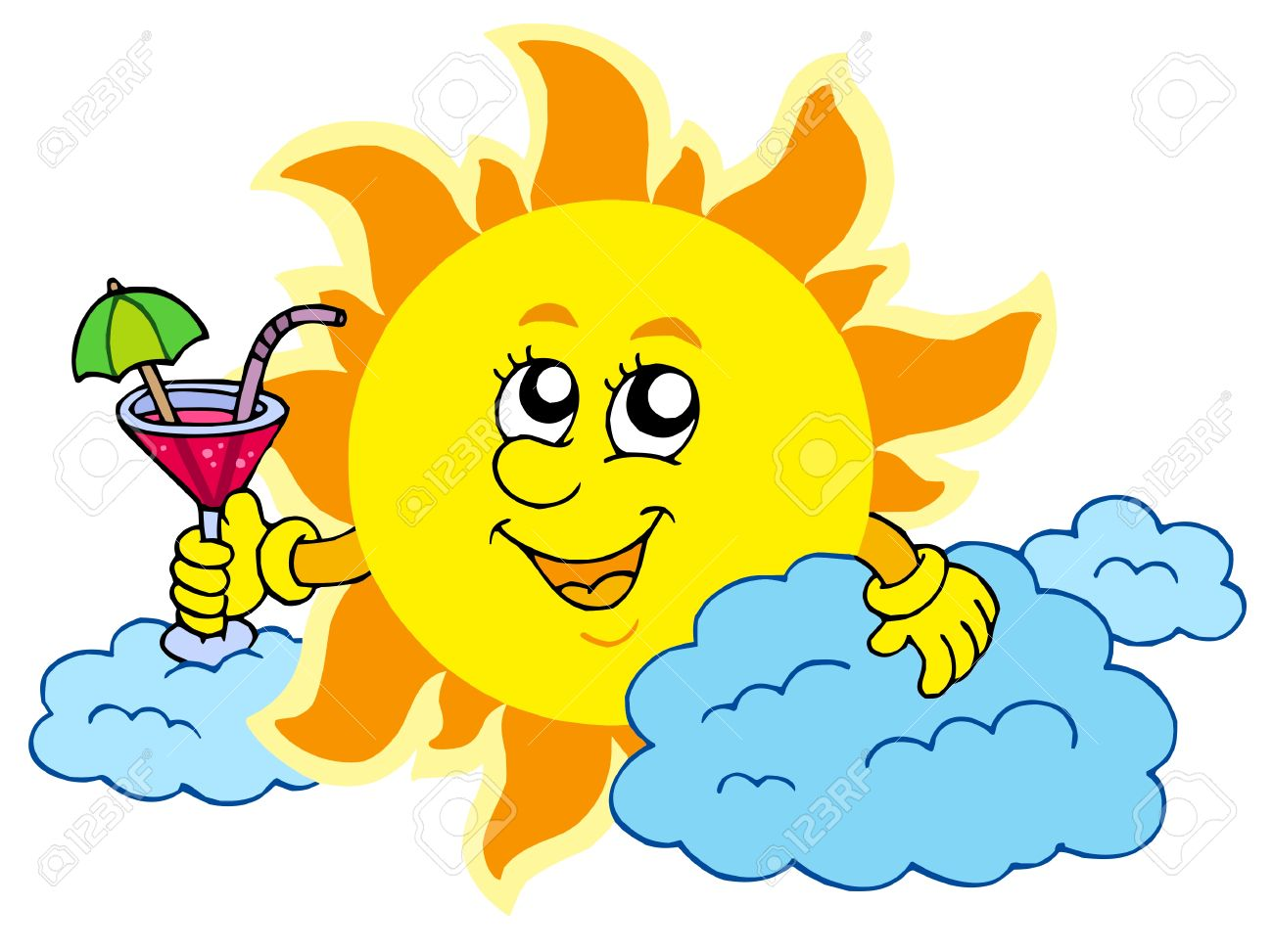 Sun with drink vector illustration royalty free cliparts