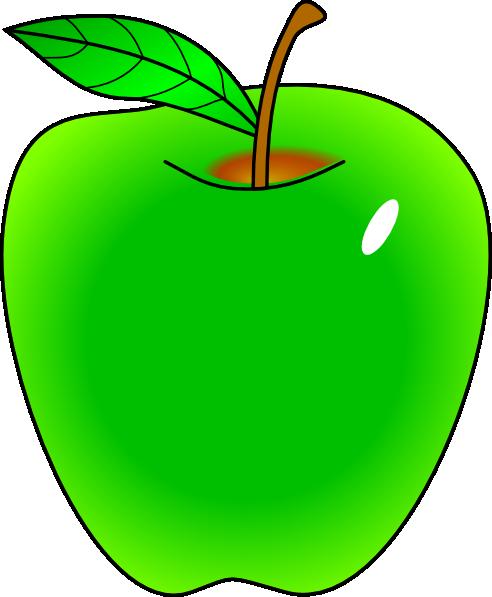 Shaded green apple clip art at vector clip art online