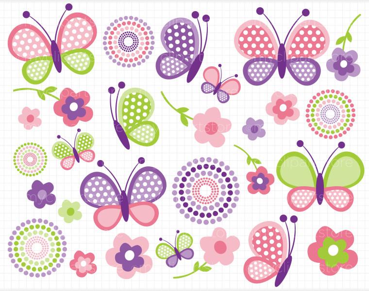 Butterfly clip art pink butterflies mothers day clipart