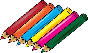 Cartoon coloured pencils clipart
