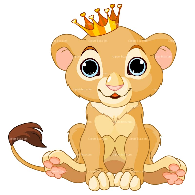 Clipart baby lion with crown royalty free vector design
