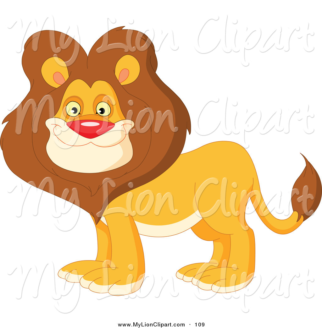 Clipart of a handsome male lion with a thick brown mane by