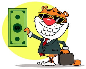 Money clipart image a business tiger holding a large green bill