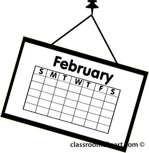 Calendar calendar february outline 2 classroom clipart
