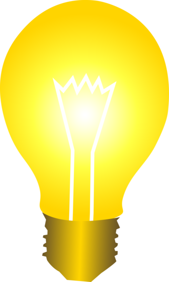 Bright yellow idea light bulb free clip art