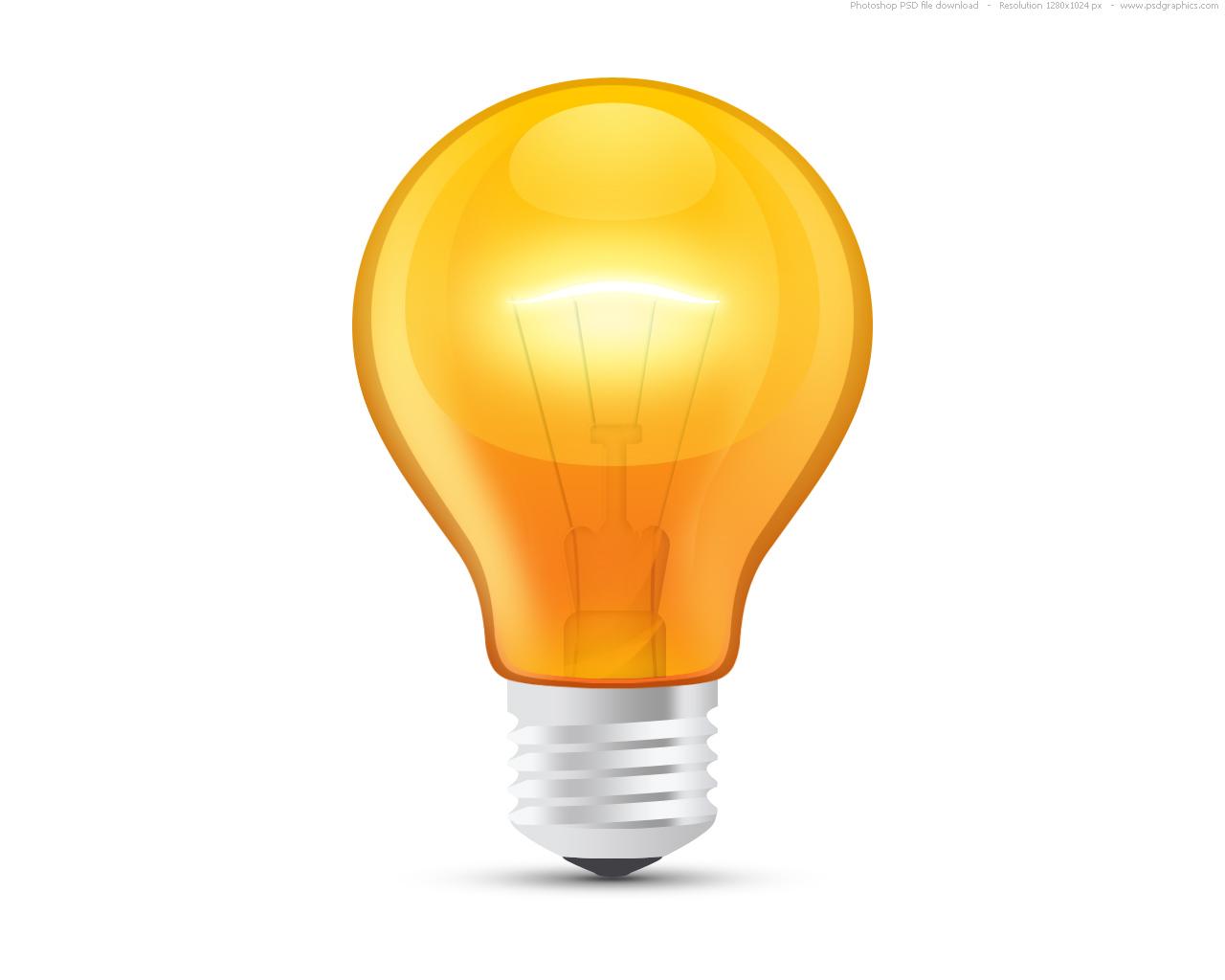 Light bulb idea clipart with glossy orange light bulb psd psdgraphics