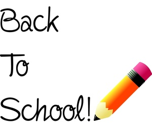 Back to school clipart image back to school text with a pencil