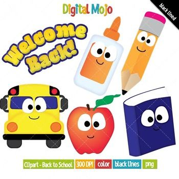 Back to school clipart set available for commercial use what