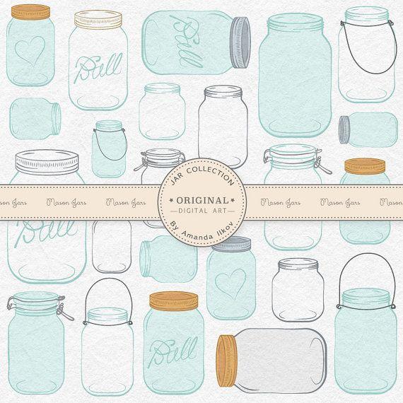 Professional mason jar clip art jar vectors mason jar clipart