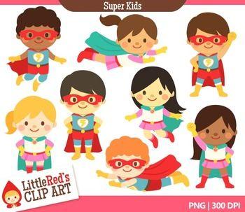 Super hero clip art blacklines included clip art superhero