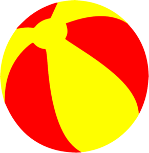 Beach ball strandball beachball ball bright red and yellow clip art at