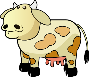 Color cow clip art free vector