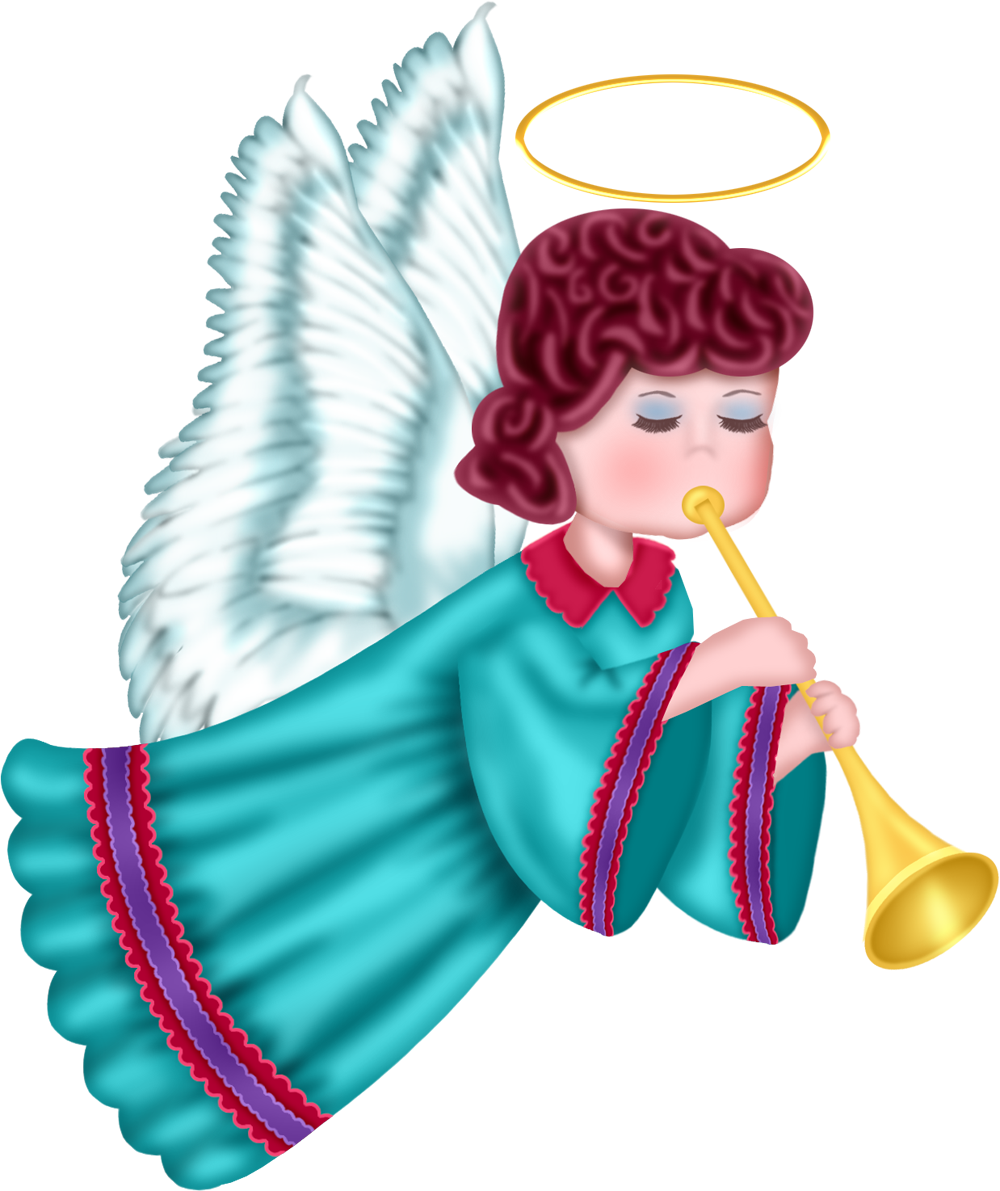 Cute angel with blue robe free clipart picture 0