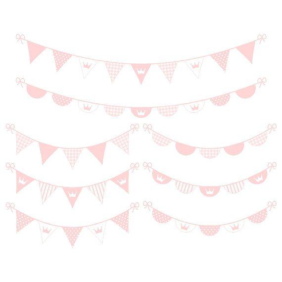 Digital banner clipart pink digital bunting clipart baby girl