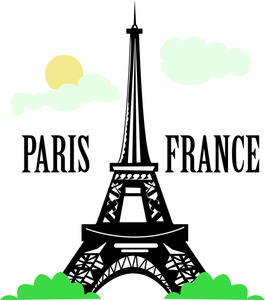 Paris clipart image the eiffel tower in paris france with the
