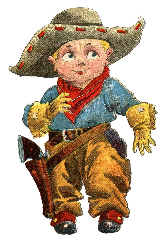 Vintage clip art cute little cowboy the graphics fairy