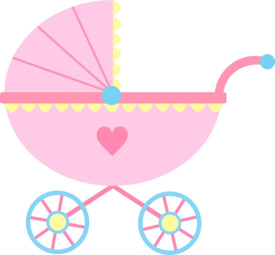 Baby clipart girl cute pink baby carriage free clip art
