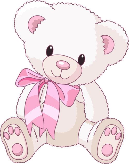 Cute baby girl clip art cute teddy bear vector illustration 2
