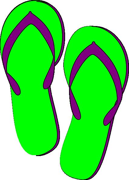 Green purple flip flops clip art at vector clip art