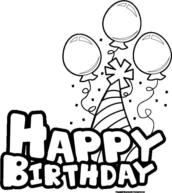 Happy birthday balloon party bw