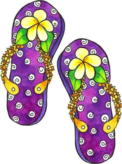 Happy feet flip flops summer is coming aline cards digi