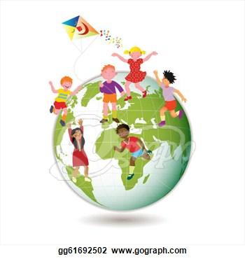 Illustration children around the world vector clipart
