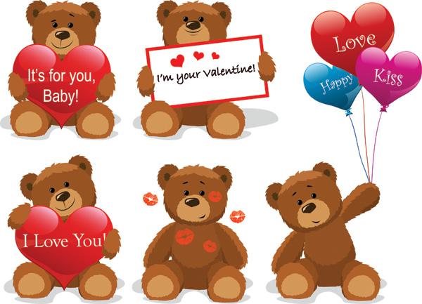 Love for teddy bear clip art free vector