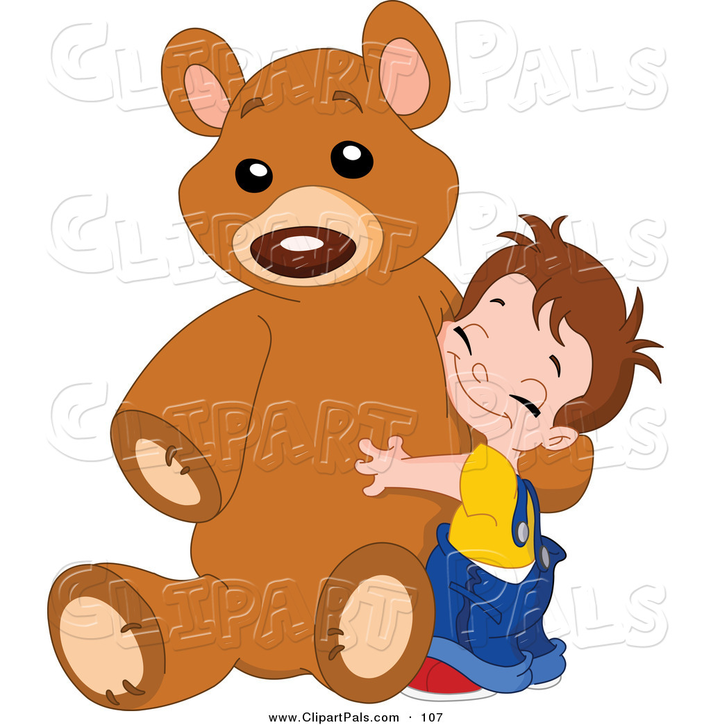 Pal clipart of a sweet boy hugging his giant brown teddy bear by