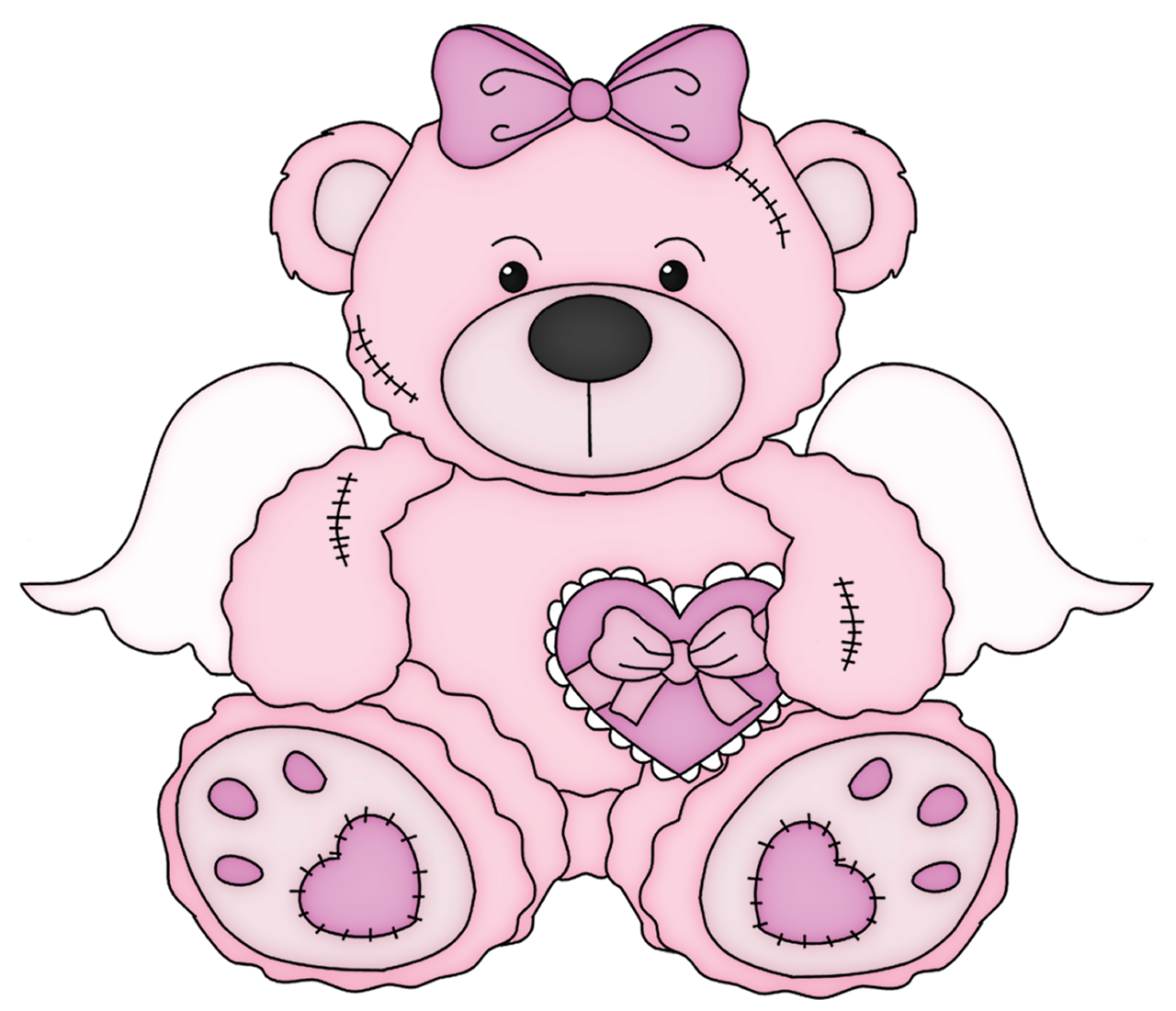 Pink valentine teddy bear clipart picture 0