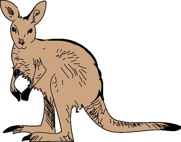 Standing kangaroo clip art at vector clip art online