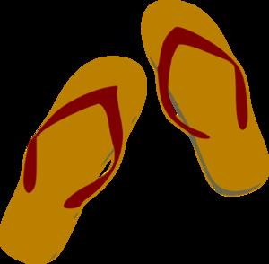 Tan and burgundy flip flops clip art at vector clip