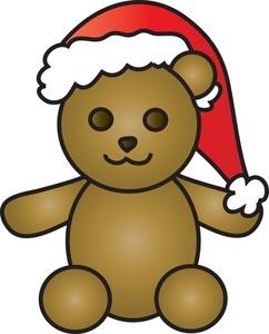 Teddy bear clipart image bear wearing a santa hat