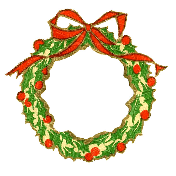 Vintage christmas clip art wreath frame silhouette the