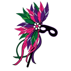 Mask clipart image feathered mardi gras mask clipart