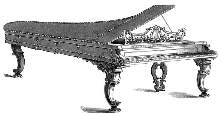Victorian piano forte engraving free vintage clip art grafika