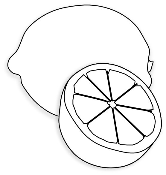 Clip art black and white food lemon citron black white line art