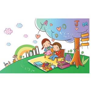 Cute school children clip art on picnic in green horizon park in