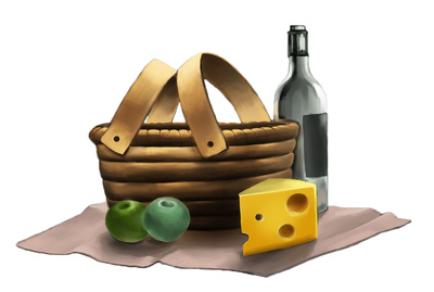 Picnic clipart basket cheese apples water bottle just free