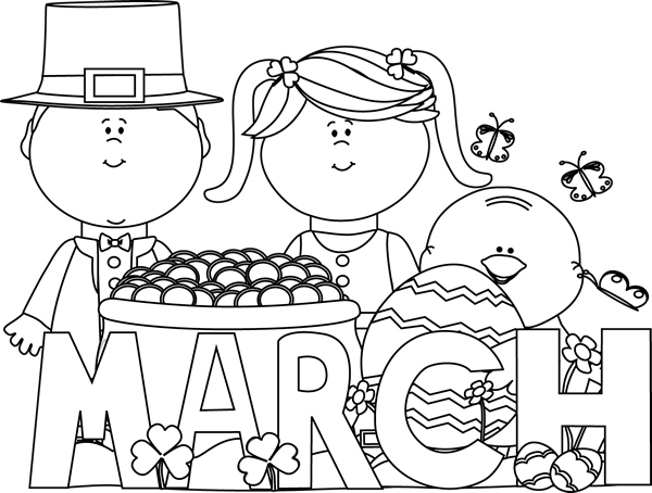 Black and white march holidays clip art black and white march 2