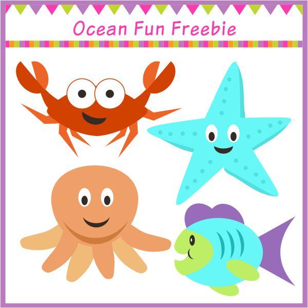 Free ocean fun mini clipart set