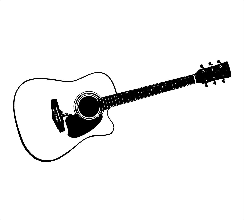 Guitar clip art border black and white clipart 2