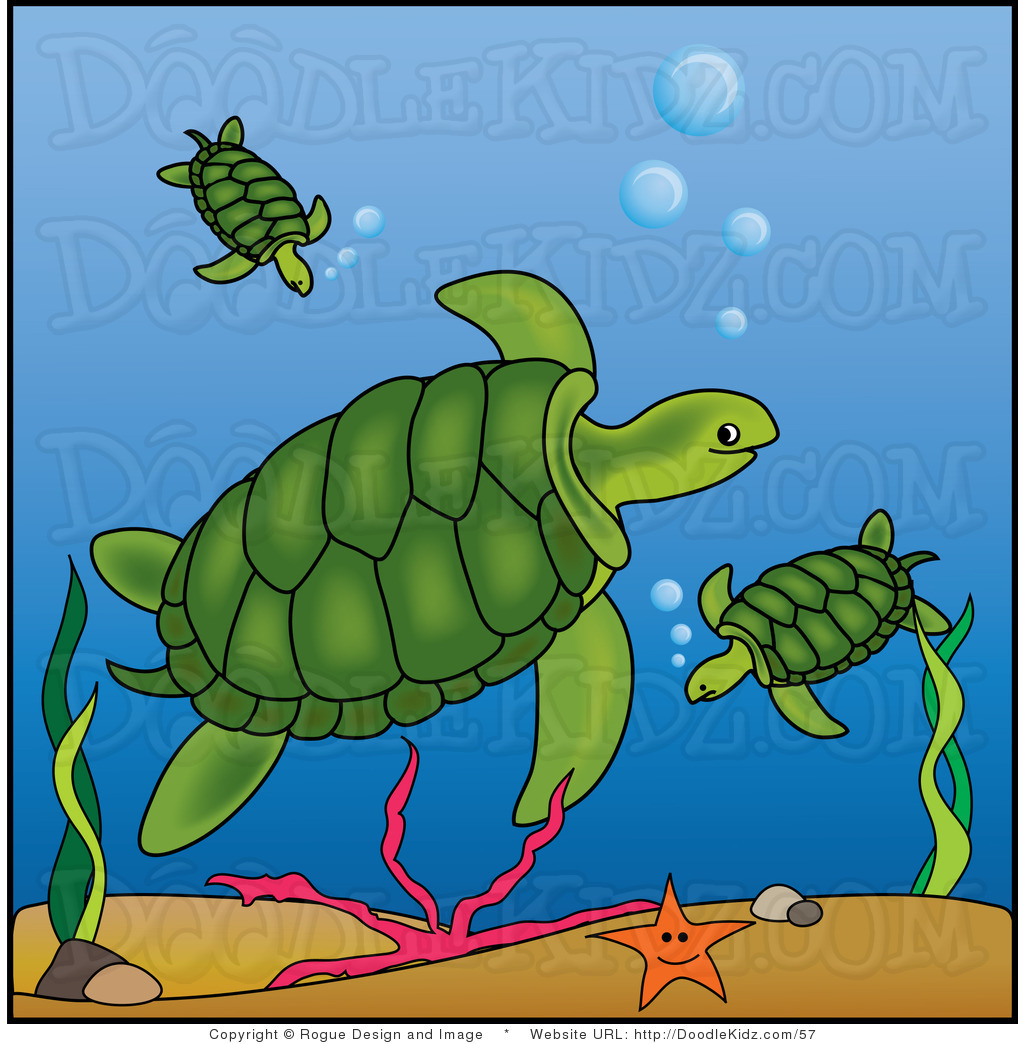 Ocean doodle clipart clip art illustration of mother sea turtle and