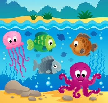 Ocean royalty free cartoon vector stock illustrations