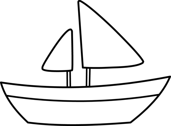 Cartoon boat outlines clipart