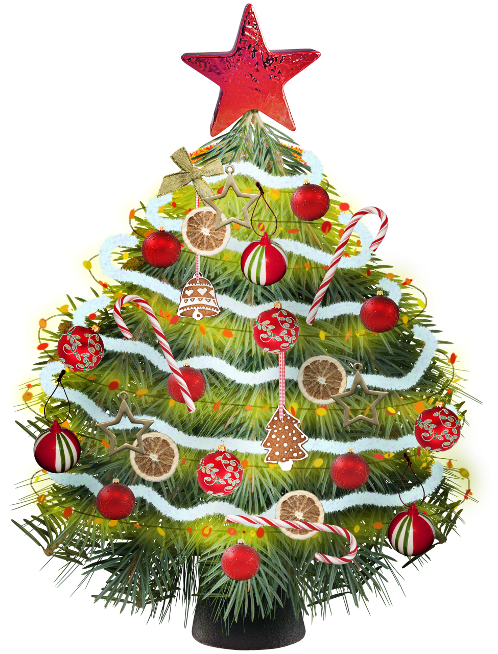 Christmas tree clipart with colorful christmas toys