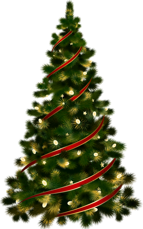 Large transparent christmas tree with red ribbon clipart 0